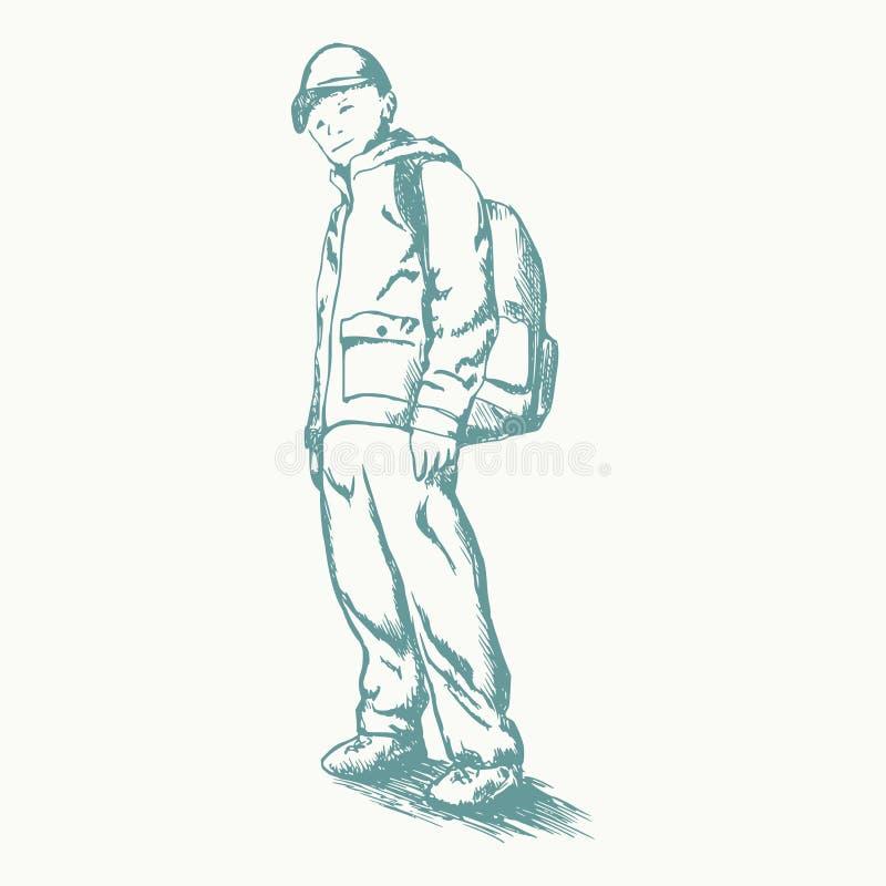 有背包剪影的男小学生 免版税库存图片