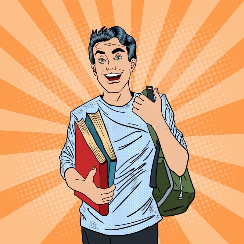有背包和书的男性流行艺术学生 向量例证