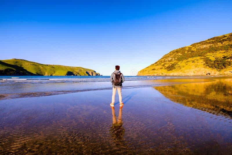 有背包的一个旅客沿海滩站立 免版税库存照片