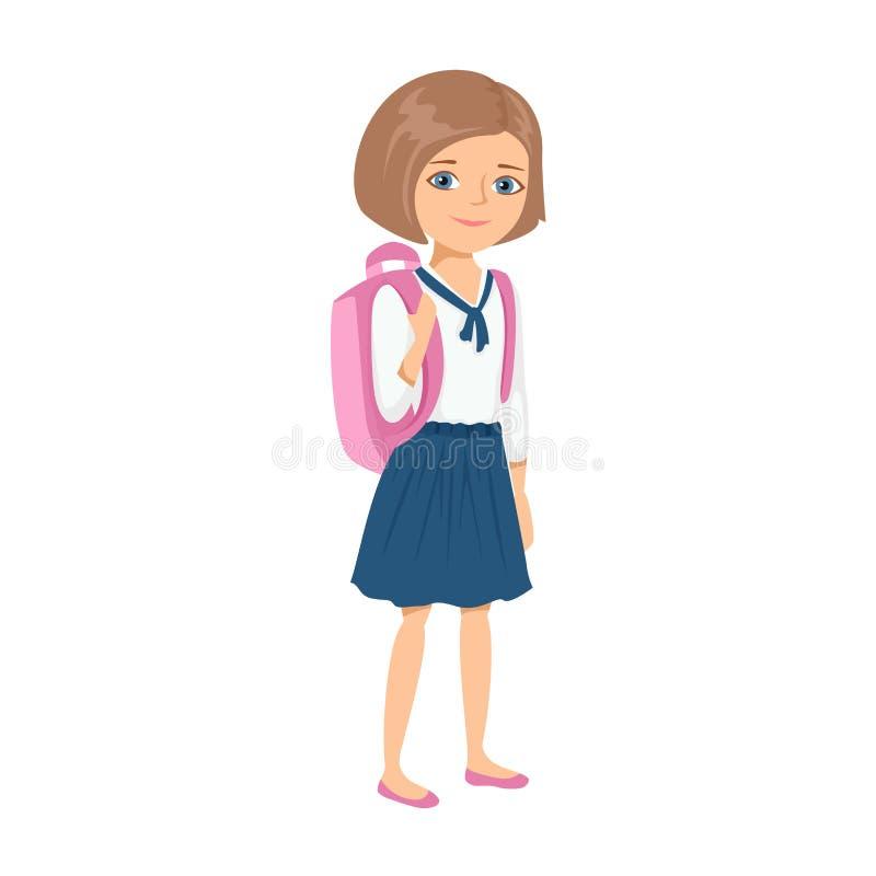 有背包的女孩去教育 皇族释放例证