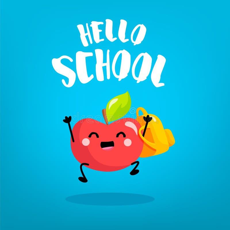 有背包的愉快的动画片苹果男小学生在蓝色背景 回到看板卡学校 向量 皇族释放例证