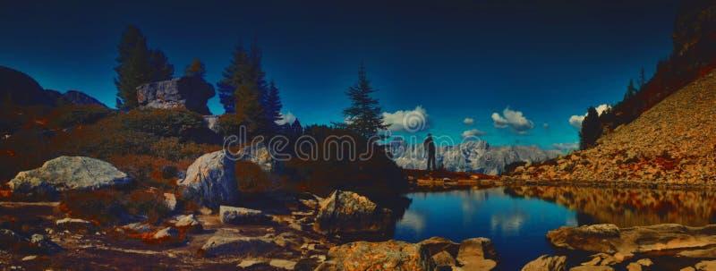 有背包的旅行家人享受在山的美好的天气 库存图片