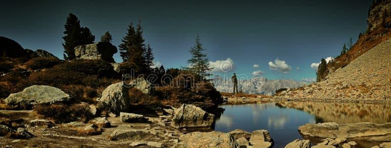 有背包的旅行家人享受在山的美好的天气 免版税库存图片