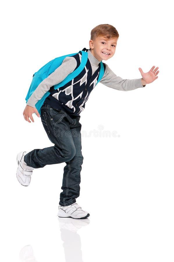 有背包的男孩 免版税库存图片