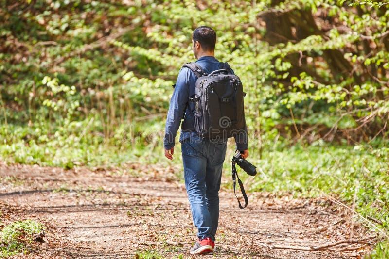 有背包的男性游人在森林里 免版税图库摄影