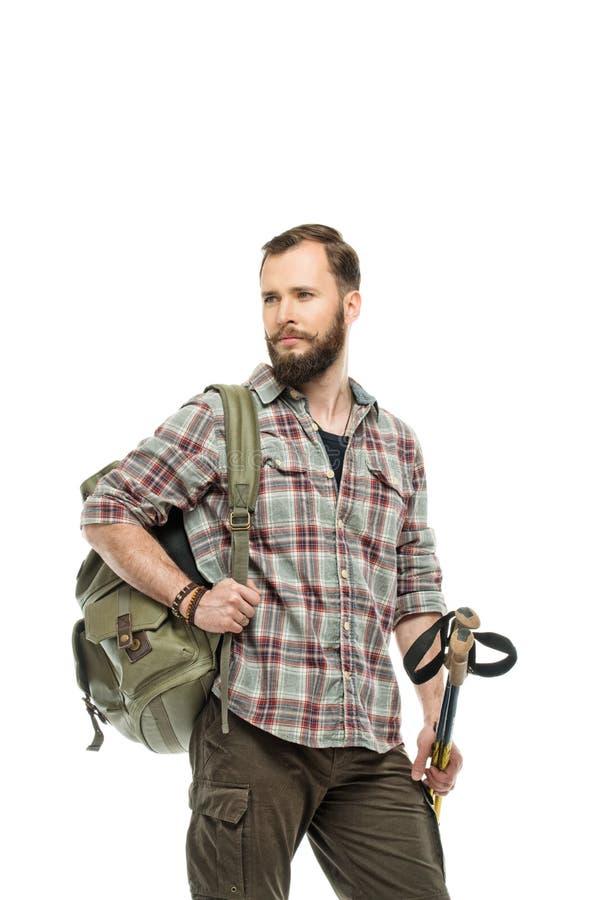 有背包的英俊的旅客 免版税库存图片