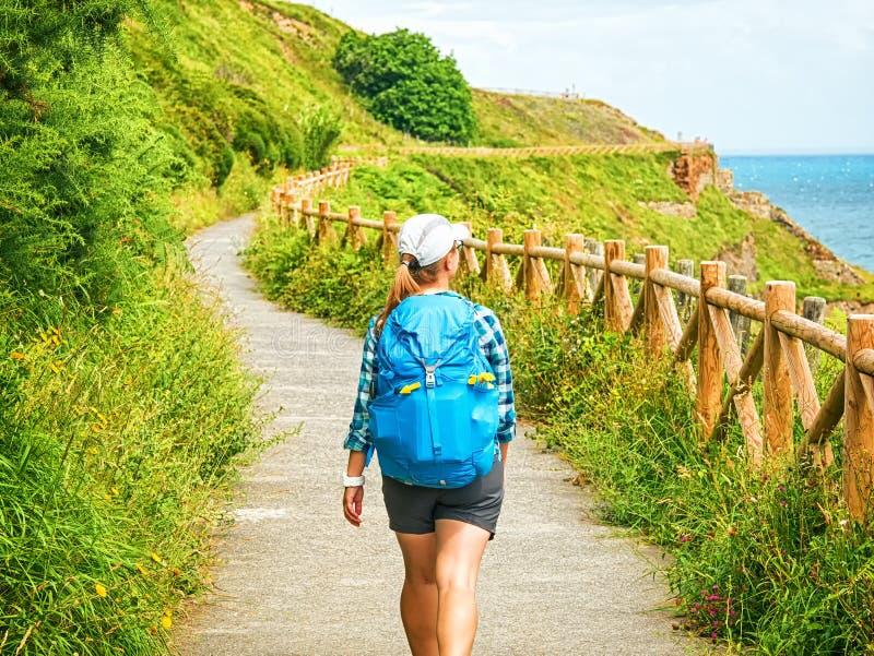 有背包的走孤独的香客Camino在S的de圣地亚哥 库存照片