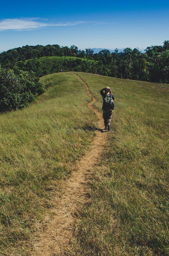 有背包的远足在山的,旅行生活方式成功概念妇女 图库摄影