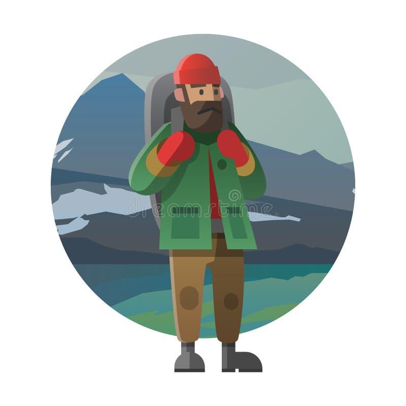 有背包的远足者室外在狂放 迁徙,远足,攀登 库存例证