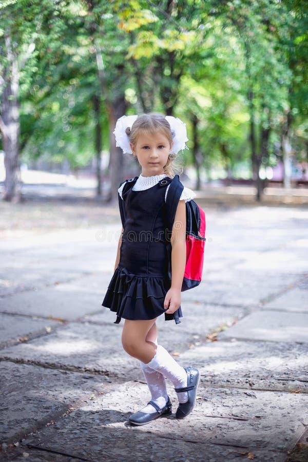 有背包的逗人喜爱的矮小的女小学生在公园 免版税库存照片