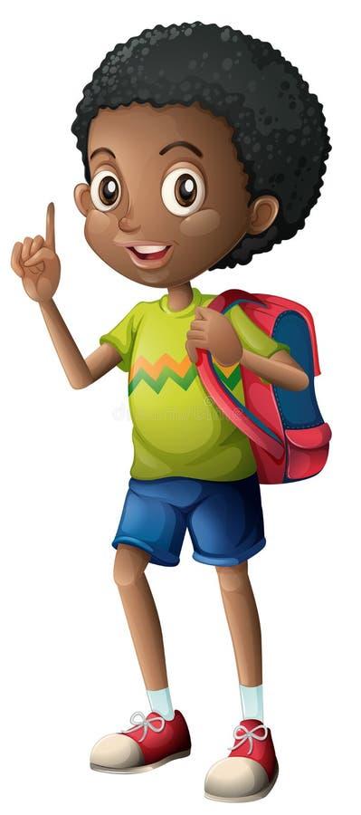 有背包的非洲男孩 向量例证