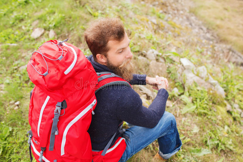 有背包远足的人 图库摄影