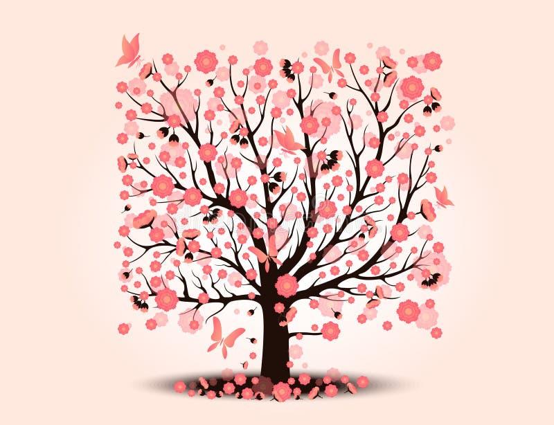 有背景树的装饰美丽的樱花 向量例证