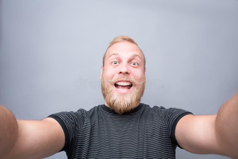 有胡子人微笑 免版税库存照片