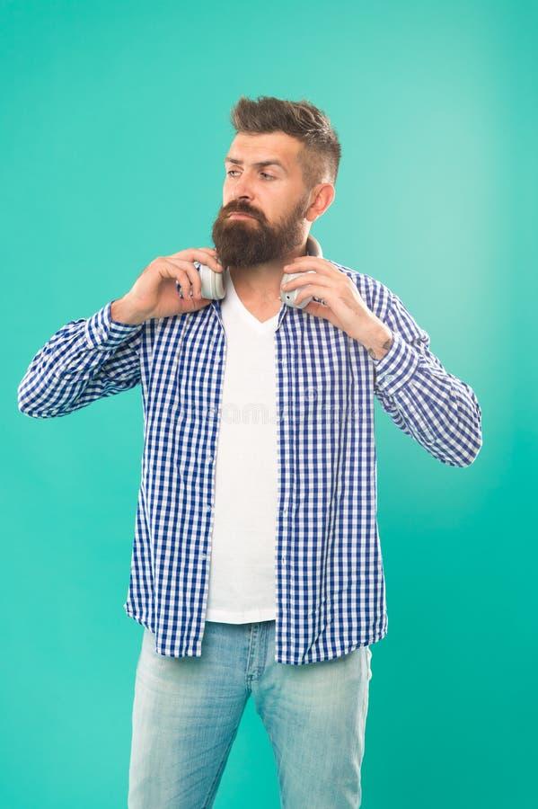 有胡子听的音乐的行家 英俊的音乐爱好者 耳机的人 放出最热的站点最熟悉内情和  免版税库存图片