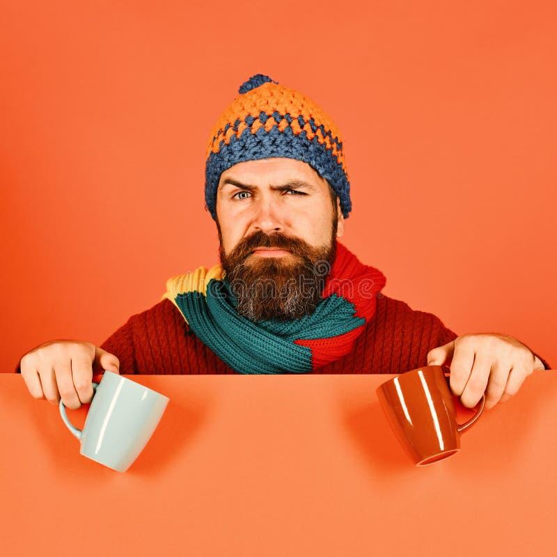 有胡子和严肃的面孔的行家食用茶 秋天病症 库存图片