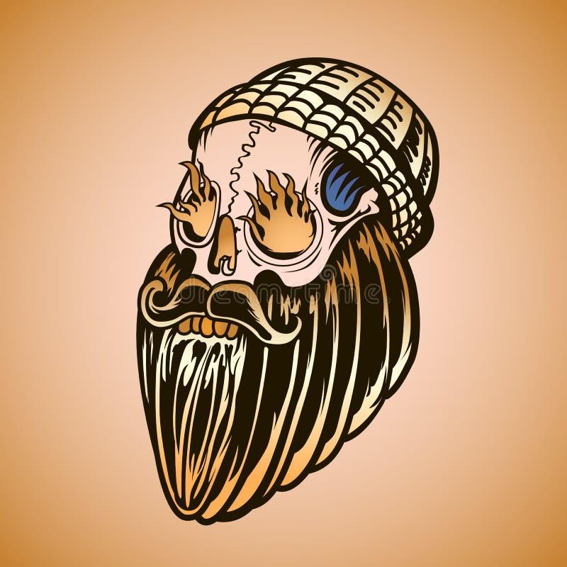 有胡子和灼烧的眼睛的行家头骨 库存例证