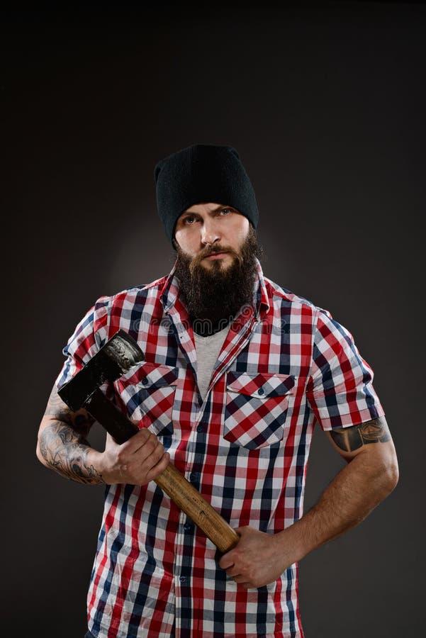 有胡子的人喜欢伐木工人 库存图片