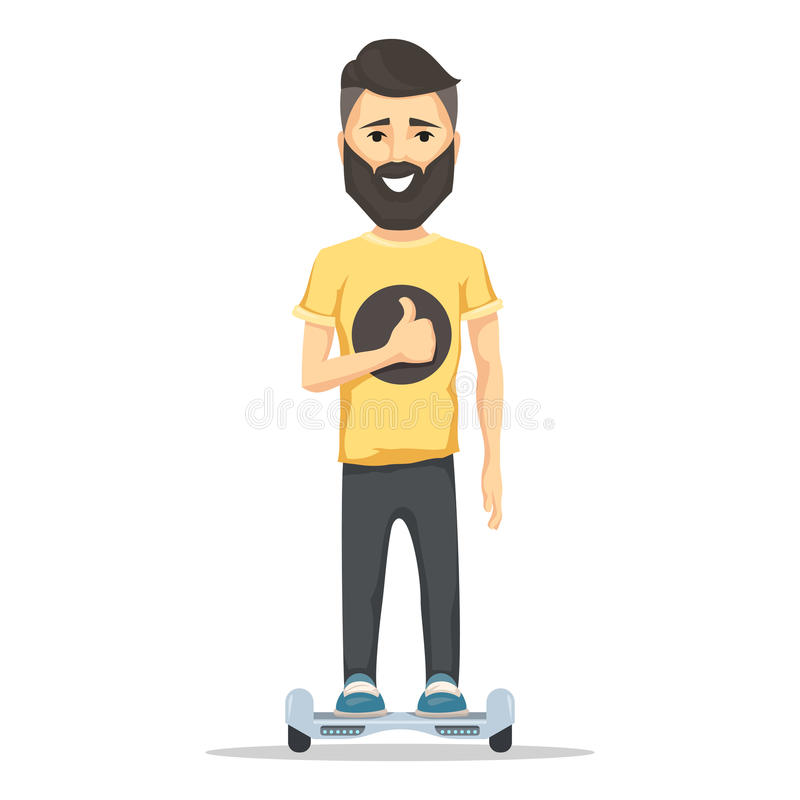 有胡子的人在hoverboard 皇族释放例证
