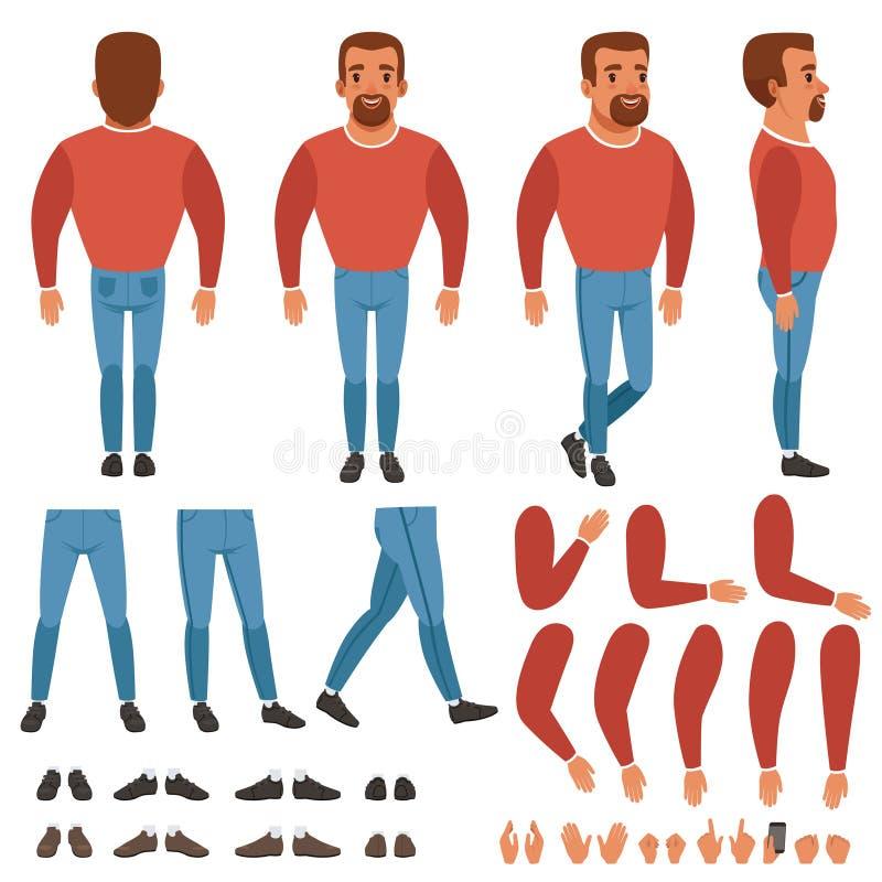 有胡子的人建设者平的传染媒介动画的 库存例证