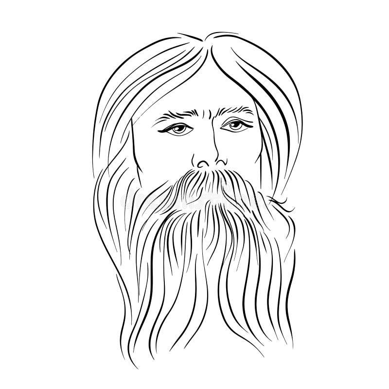 有胡子的人手拉的画象  例证百合红色样式葡萄酒 也corel凹道例证向量 库存例证