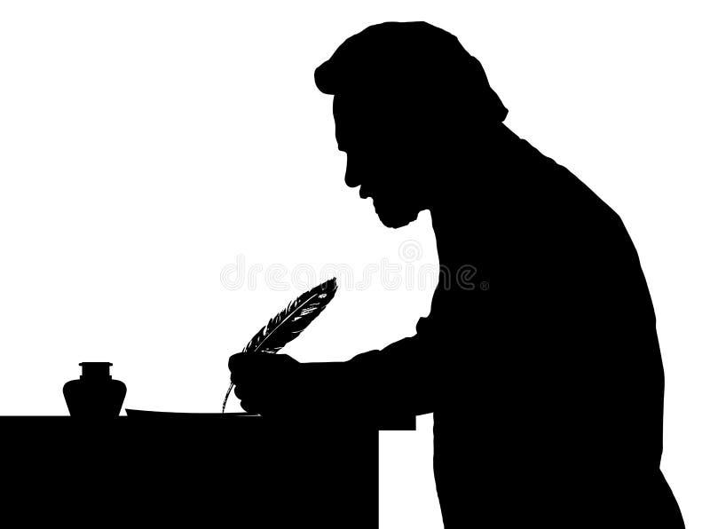 有胡子的人文字葡萄酒剪影与羽毛的在桌上 皇族释放例证