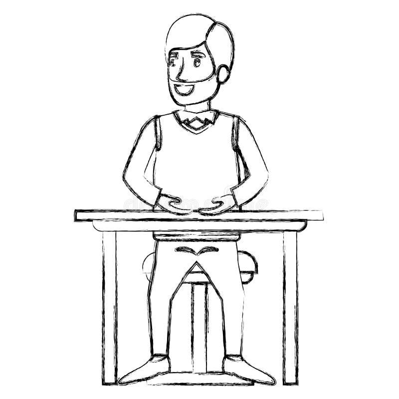 有胡子的人被弄脏的剪影正装和头发边的分开了和坐在桌面的椅子 库存例证