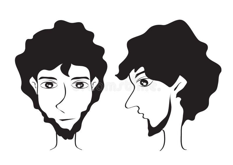 有胡子的人面对行家动画片传染媒介例证,年轻人短发样式象,男性面孔,商标人,沙龙标志 库存例证