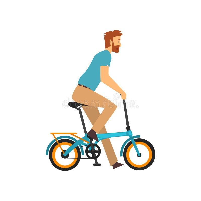 有胡子的人骑马自行车,在自行车传染媒介例证的骑自行车者字符 向量例证