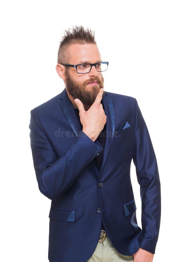 年轻有胡子的人画象被隔绝在白色 免版税库存图片