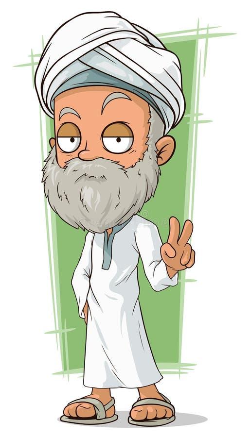 有胡子的动画片老阿拉伯人 库存例证