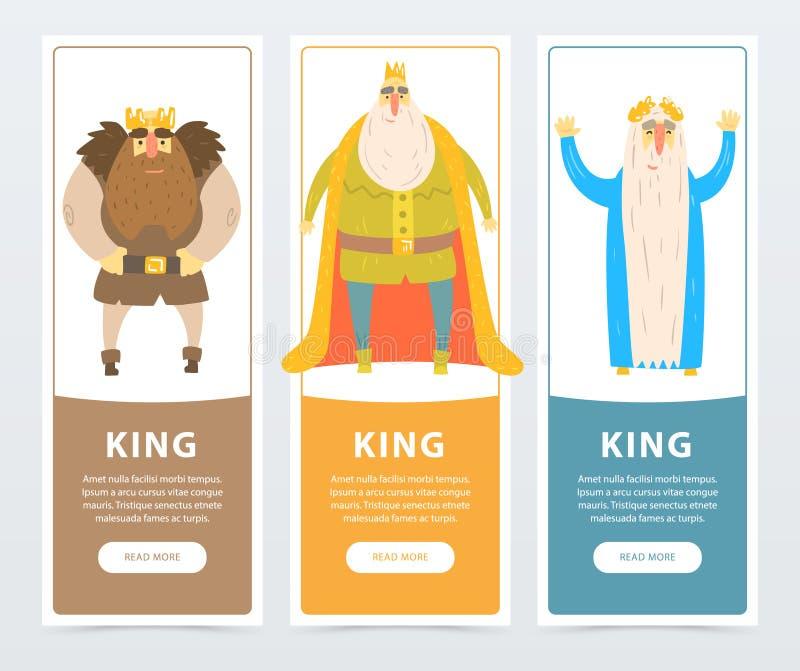 有胡子的国王五颜六色的垂直的横幅有金黄冠的 王国的统治者 可笑的平的字符 向量例证