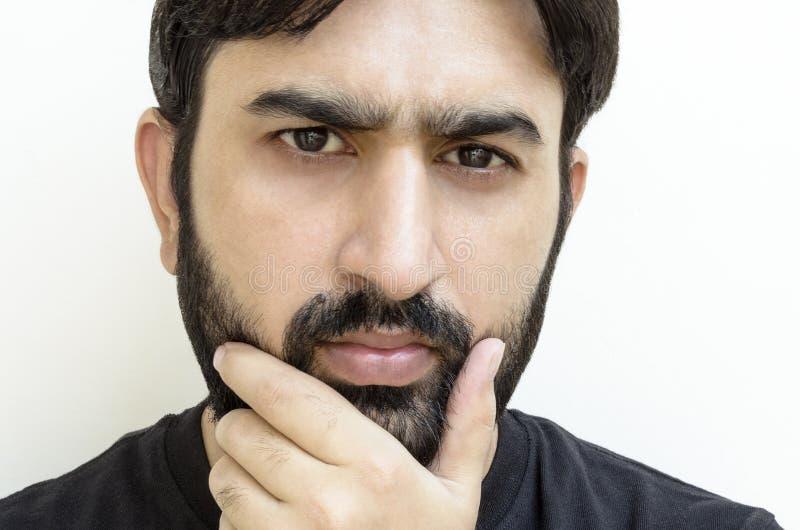 有胡子的好奇人 免版税库存照片