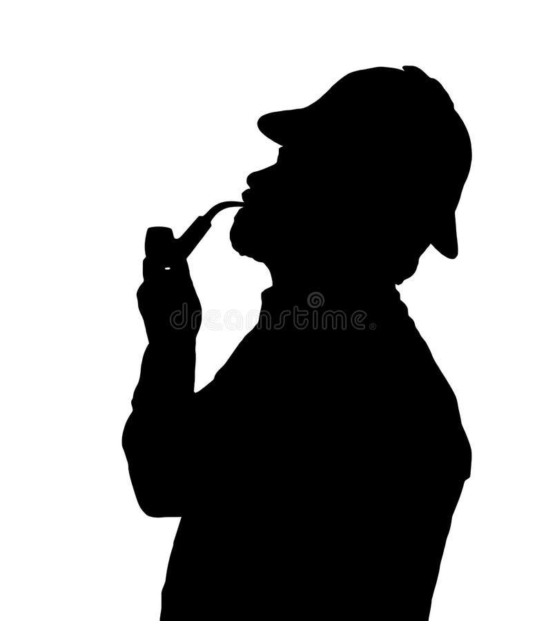 有胡子的有Sherlock帽子看的人烟斗剪影  向量例证