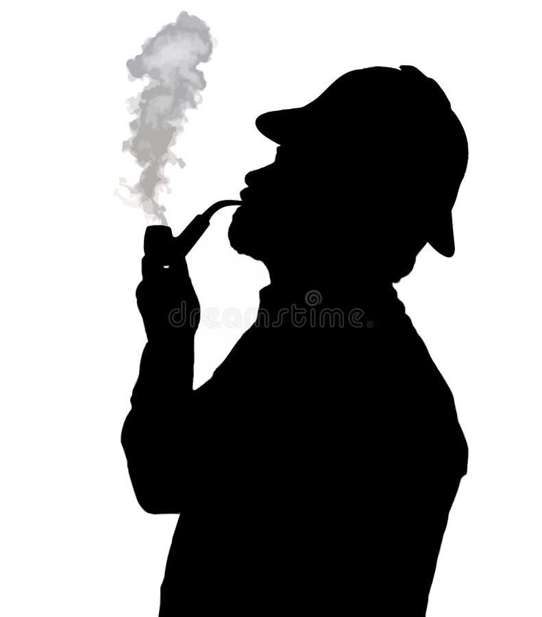 有胡子的有Sherlock帽子看的人烟斗剪影  库存例证