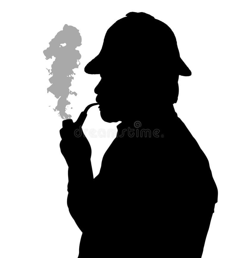 有胡子的有Sherlock帽子thinkin的人烟斗剪影  向量例证