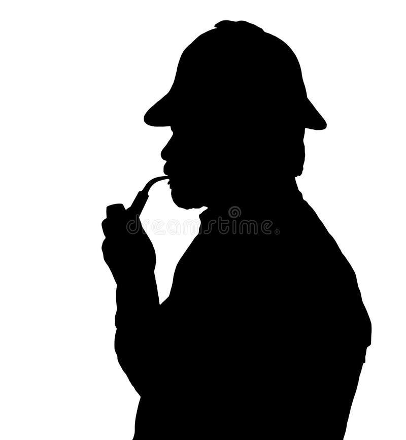 有胡子的有Sherlock帽子thinkin的人烟斗剪影  库存例证