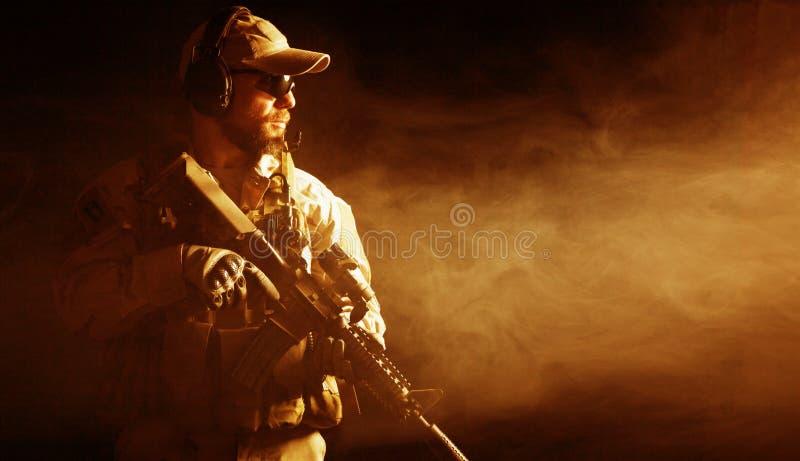 有胡子的特种部队战士 免版税库存照片
