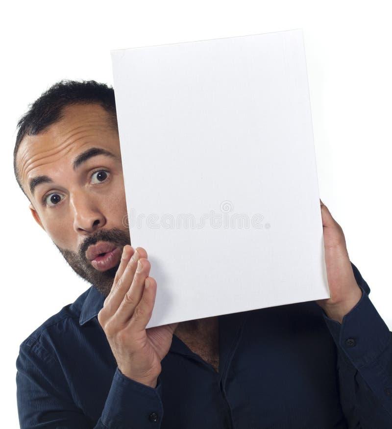 有胡子的空白画布藏品人白色 库存图片