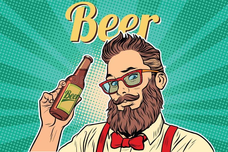有胡子的行家啤酒 库存例证