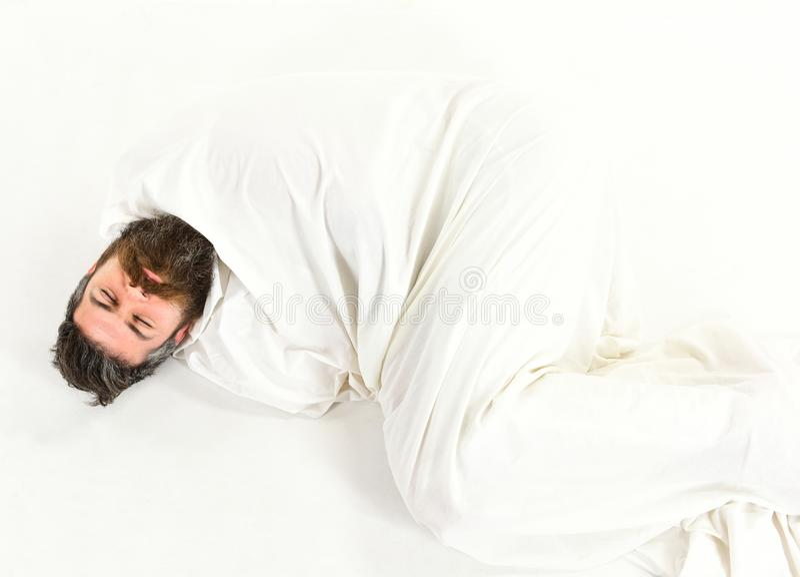 有胡子的行家在象茧的毯子睡着,包裹 库存照片