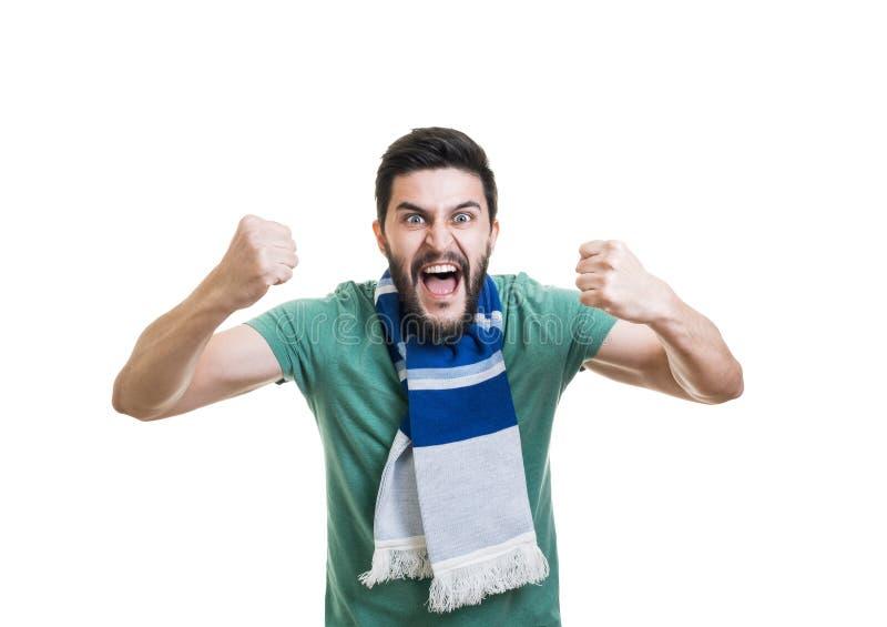 有胡子的足球迷 库存图片