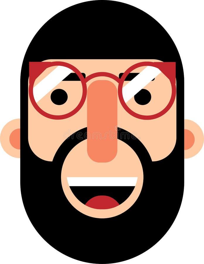 有胡子面孔平的deaign的中年人 皇族释放例证
