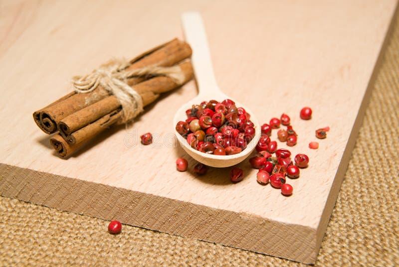 有胡椒和桂香五谷混合物的匙子在woode 库存图片
