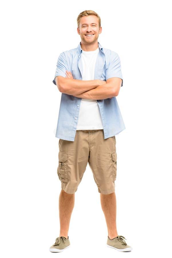 有胳膊的可爱的年轻人在白色背景折叠了 免版税库存图片