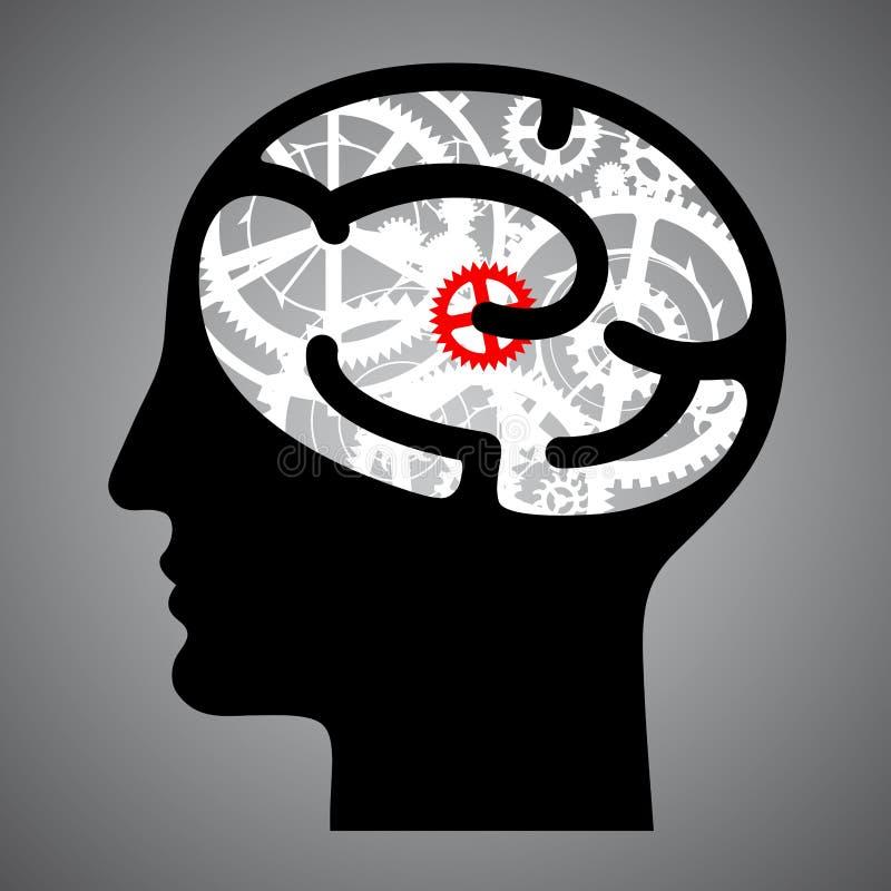 有脑子齿轮的剪影人头 向量例证
