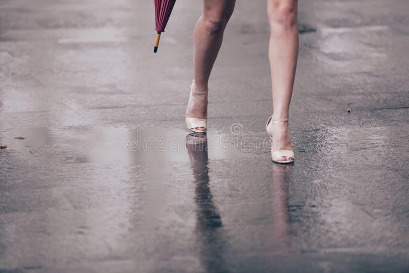 有脚跟和伞的妇女光秃的腿 库存图片
