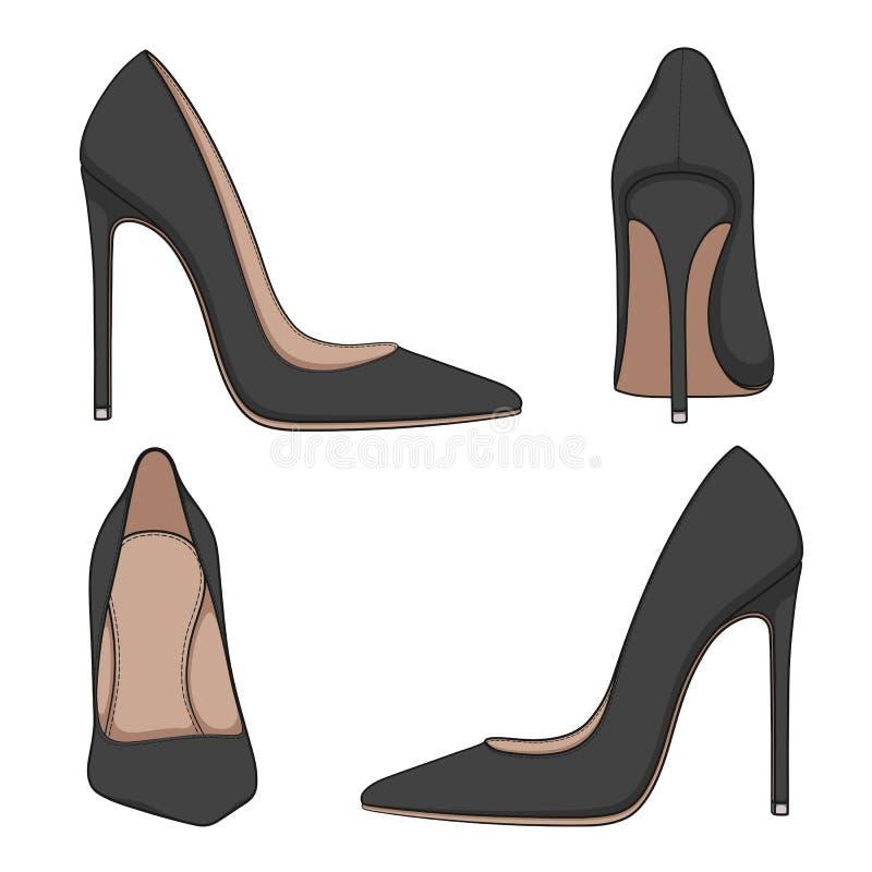 有脚跟的女性黑经典鞋子 套传染媒介彩色插图 库存例证