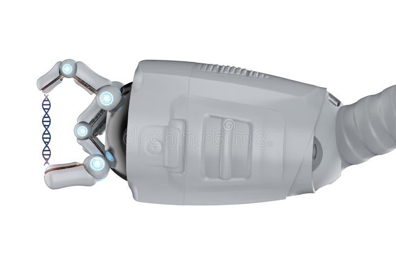 有脱氧核糖核酸螺旋的机器人 库存例证