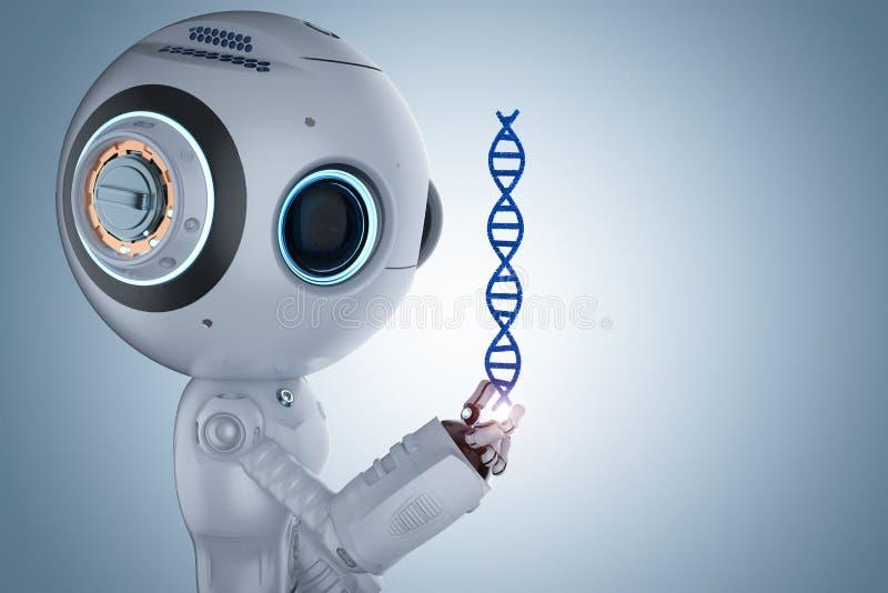 有脱氧核糖核酸螺旋的机器人 皇族释放例证